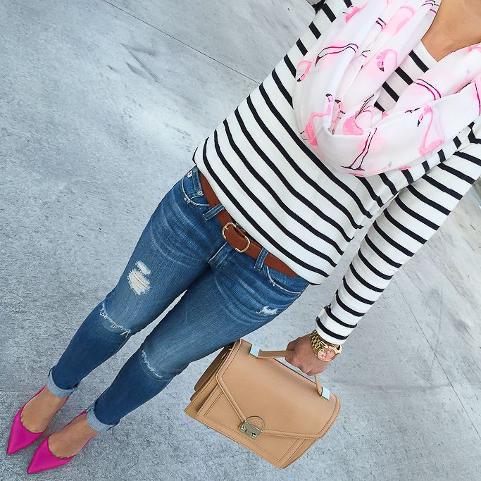 Sole Society flamingo scarf, Ann Taylor striped boatneck tee, AG distressed super skinny jeans, Kate Spade lottie pumps