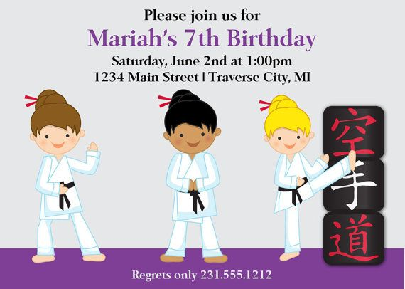 126 best Kids Birthday Party Invitations images – Martial Arts Birthday Invitations