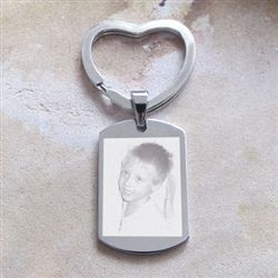 A beautiful custom photo engraved keyring for women.  Perfect for Mothers and Grandmothers.