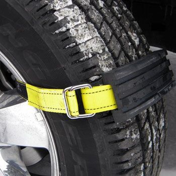 Avoid getting stranded when you run into adverse weather conditions by using these tire traction blocks. They easily attach to any wheel to provide added traction and get your vehicle out of the mud, snow, or sand without needing a tow truck.