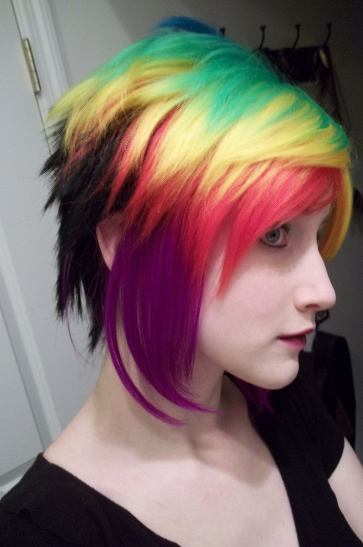 rainbow hair -- Effing LOVE it! The rainbow color with that style is to die for. Maintaining that color must be a bitch though.