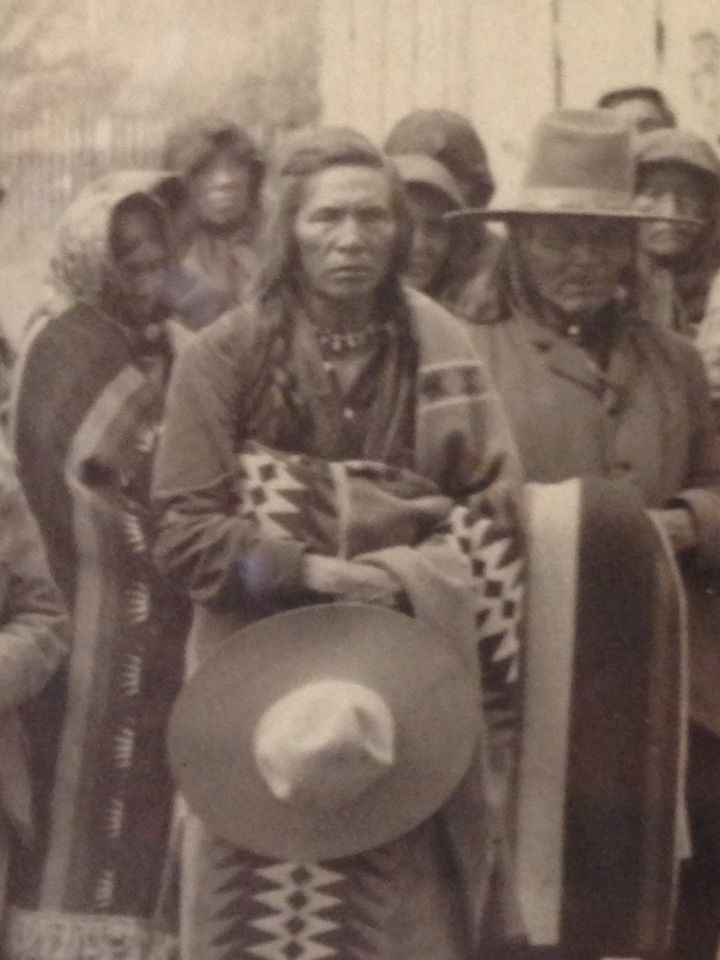 """Louie """"Judge"""" Pierre, father of Ellen Big Sam, Mary Ann Toppseh Coombs, Theresa Woodcock and Pete Pierre. ca. 1911 @ Stevensville. Twentieth anniversary of the removal of Charlo's Band from the Bitterroot Valley. Pic from Troy Felsman."""