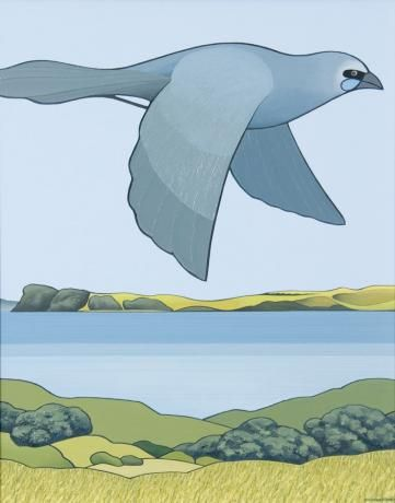 Kokako, Tiritiri Matangi by Don Binney. Oil on acrylic on canvas. (2006-7) Sold for 87,000NZD in 2009 at Webbs Auction House.