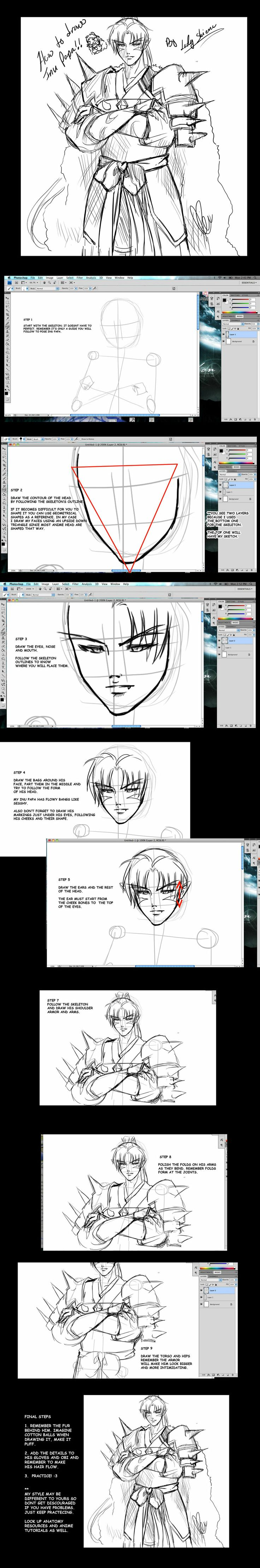 By step drawing tutorial on how to draw kagome higurashi from inuyasha - How To Draw Inu No Taisho Tutorial By Nardhwen On Deviantart
