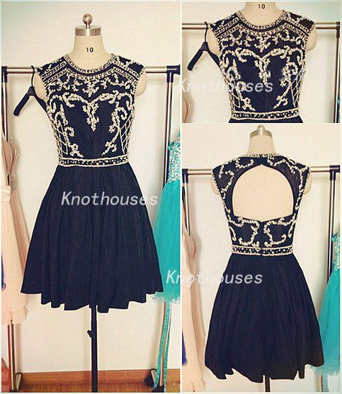 Black Beaded Lace applique new Strapless Taffeta Prom dress/ Dance dress/Mini Dress/ Pageant dress  This dress can be custom made, both size and color can be custom made. Custom size and color made will charge for no extra. If you need a custom dress, please send us messages for your detail re...
