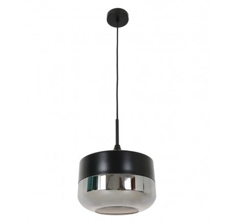 Lunar 1 Light Bowl Pendant in Black/Smoke | Pendant Lights | Lighting