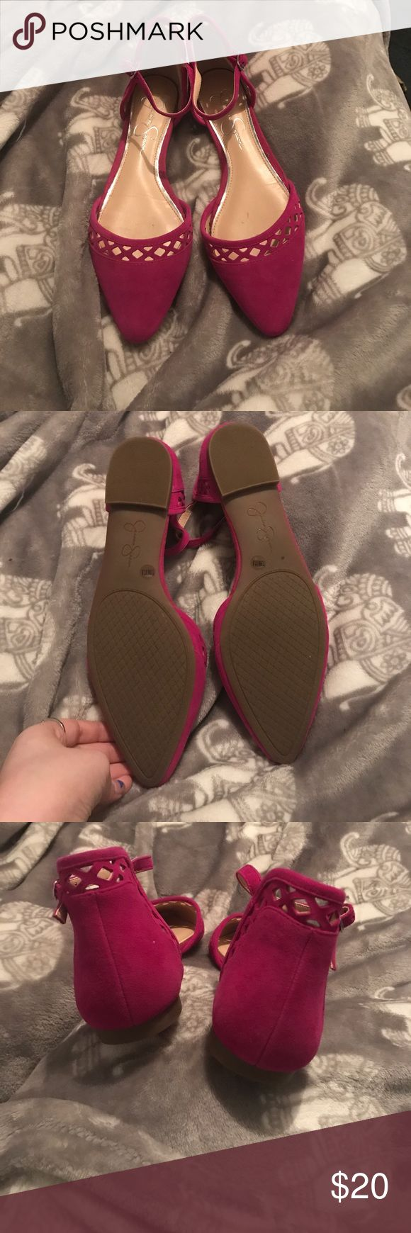 Jessica Simpson flats Bright magenta Jessica Simpson flats ! Perfect condition , only one little scrape on left shoe Jessica Simpson Shoes Flats & Loafers