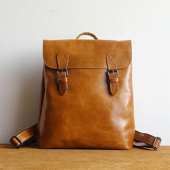Cuir de grain supérieur Vintage sac à dos femme, sac en cuir minimaliste, sac à dos en cuir à la main