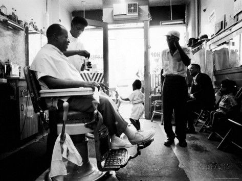 ... Armstrong in His Neighborhood Barber Shop Premium Photographic Print