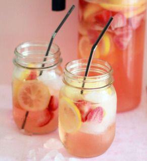 Strawberry-Lemon White Wine Sangria #recipes #cocktails