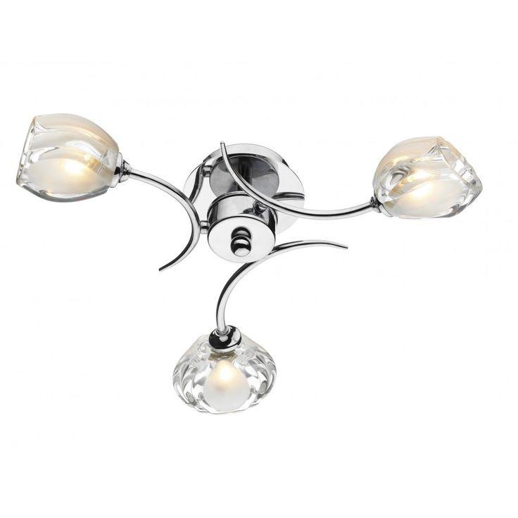 £80 Dar ZAG0350 Zagreb 3 Light Semi-Flush Ceiling Light Polished Chrome