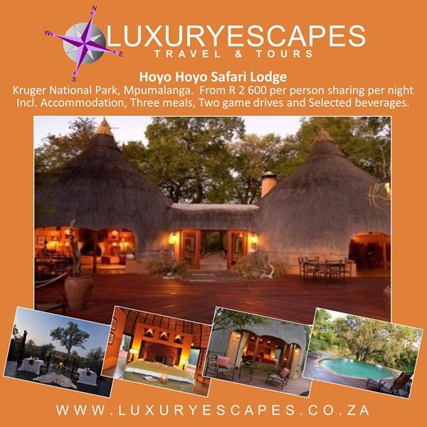 Hoyo Hoyo Safari Lodge, Kruger National Park, Mpumalanga. #TravelSpecial from R 2 600 per person sharing per night Incl. Accommodation, Three meals, Two game drives and Selected beverages. Book www.luxuryescapes.co.za