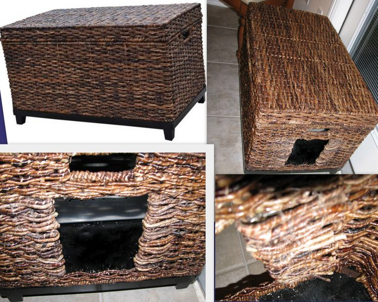 A Target Threshold Wicker Trunk & Sterilite 66 qt plastic storage box for a hidden litter box. 1. Using wire cutters snip the wicker down the center where for the door. 2. Then snip the vertical supports, some are metal. Don't cut too many (look at the handle above door for width) a metal support on each side of the door to bend the wicker against making the doorway stable. 3. Bend the horiz. wicker pieces against the vertical metal supports & secure w/cord threaded in a needle w/a large…