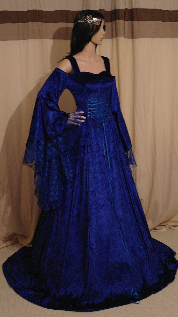 Royal blue medieval handfasting fantasy wedding by camelotcostumes