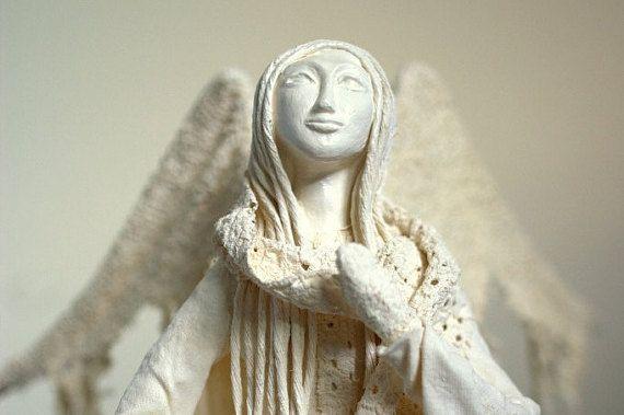 Aria angel sculpture original handmade gift home by SeaMessage