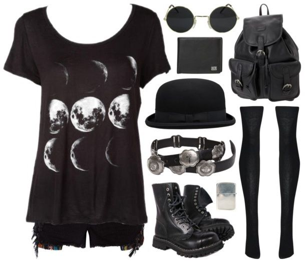 Moon phases goth outfit