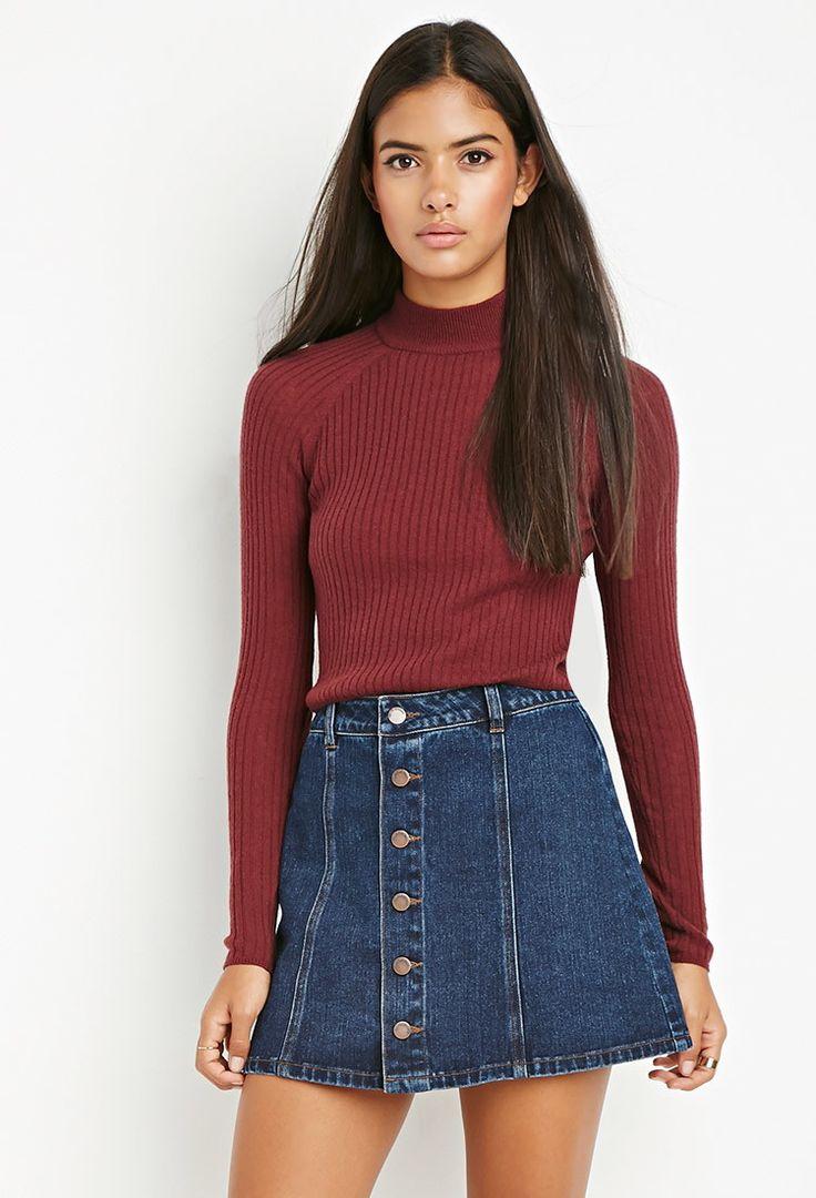 Life in Progress Buttoned A-Line Denim Skirt   LOVE21 - 2000162409
