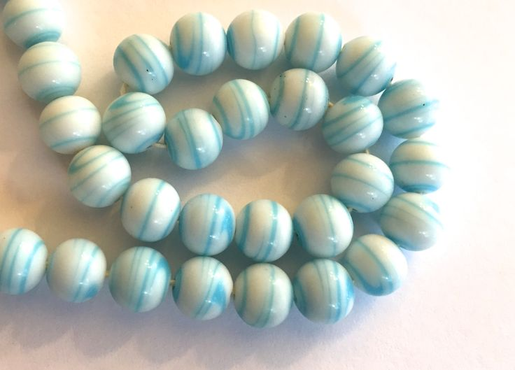 vintage beads japan 24 blue stripe white opaque glass beads occupied japan cherry brand