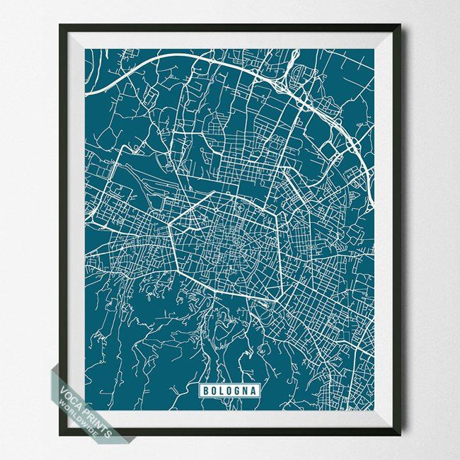 BOLOGNA, ITALY STREET MAP PRINT by Voca Prints! Modern street map art poster with 42 color choices. Perfect for anyone who loves to travel or is away from home.