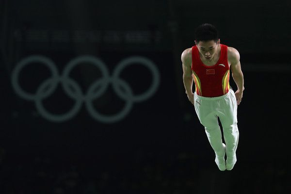 Lei Gao of China performs during the Mens Trampoline on Day 8 of the Rio 2016 Olympic Games at the Rio Olympic Arena on August 13, 2016 in Rio de Janeiro, Brazil.