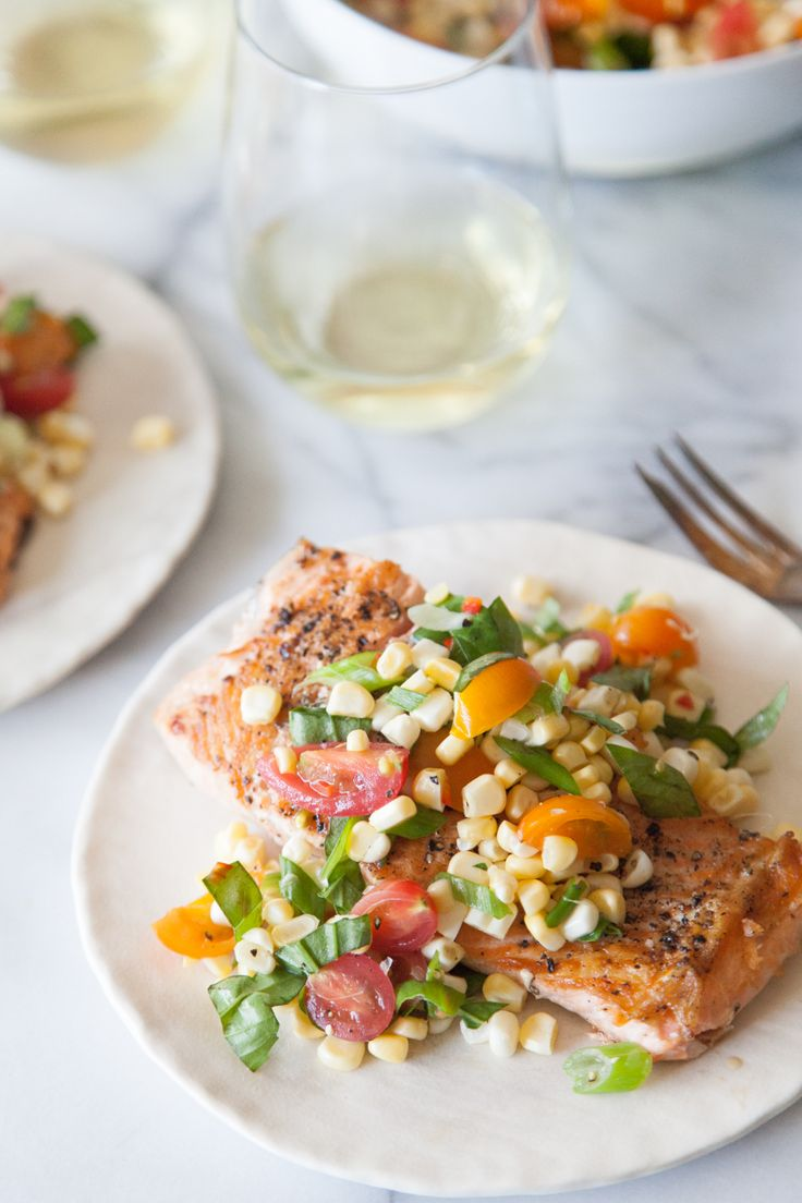 Crispy Salmon Succotash - What's Gaby Cooking