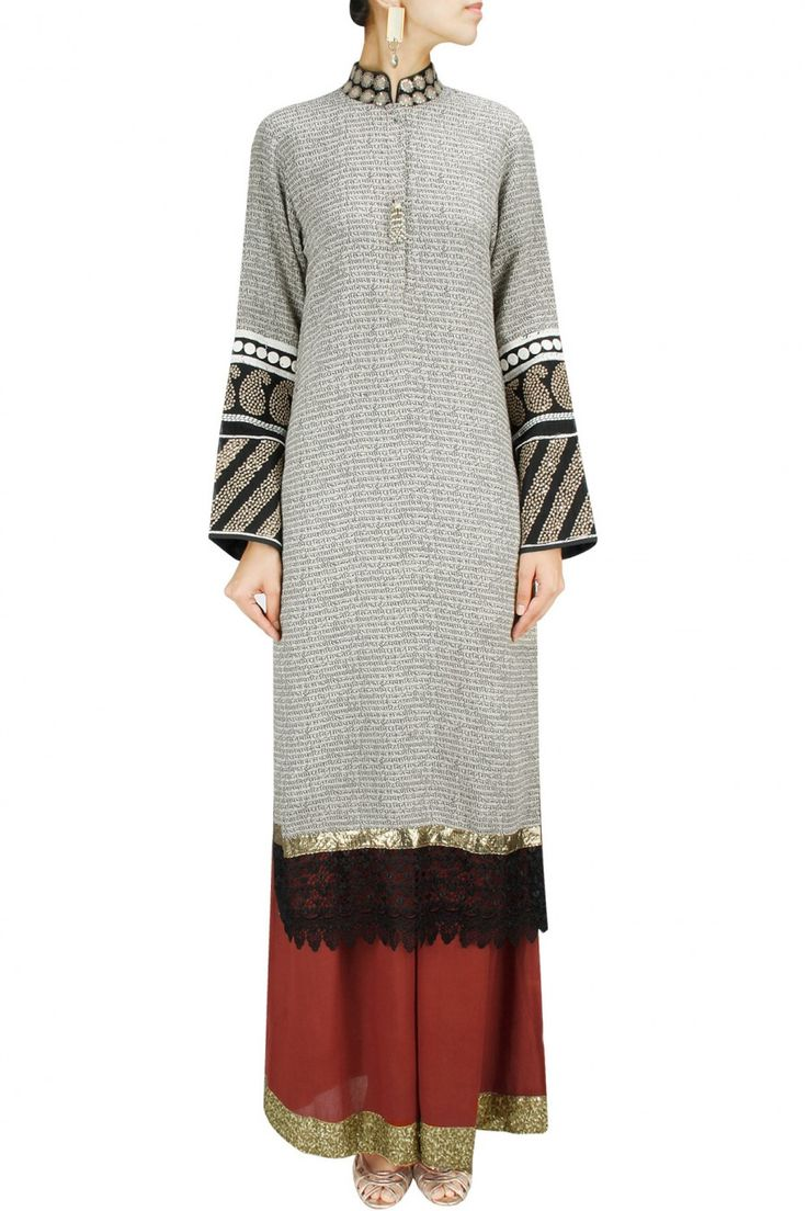 VIKRAM PHADNIS Off white shlok print embroidered long straight kurta with red pants