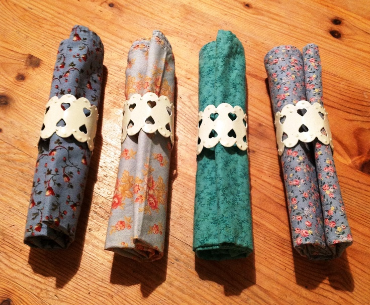 Homemade napkins out of fabric quarters. Different colours means you know which is yours!
