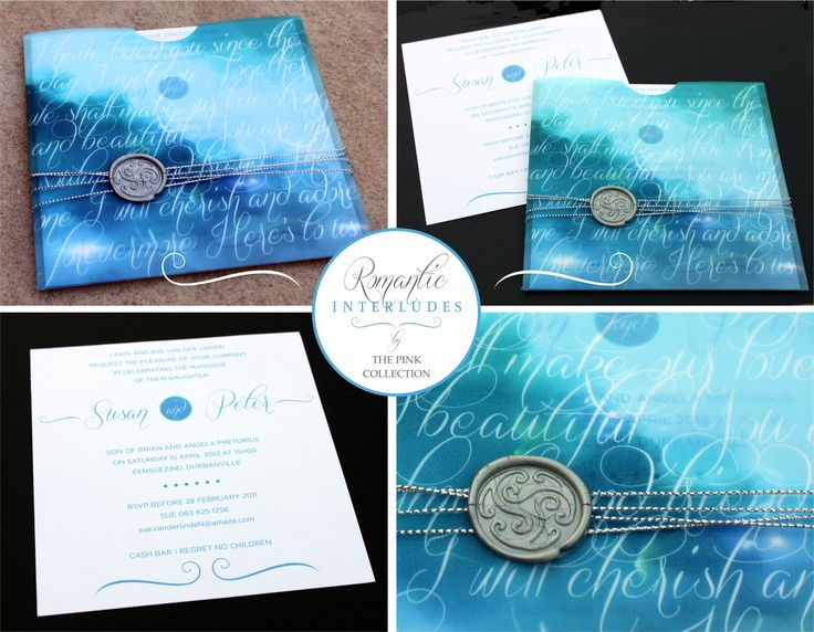 Romantic interludes in blue. A lovely idea for a Winter wedding. With a wax seal and silver string wraparound.