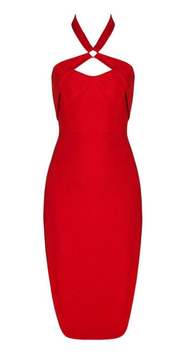 Mischa Red Cutout Bandage Dress