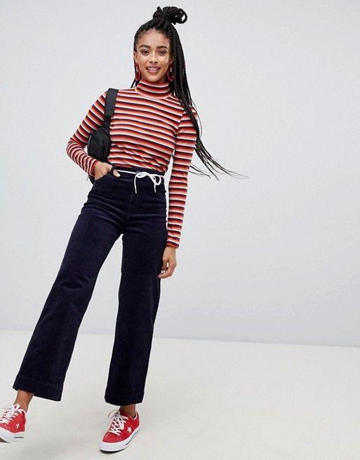 buy popular 2b21b 69570 Monki cord straight leg pants in navy