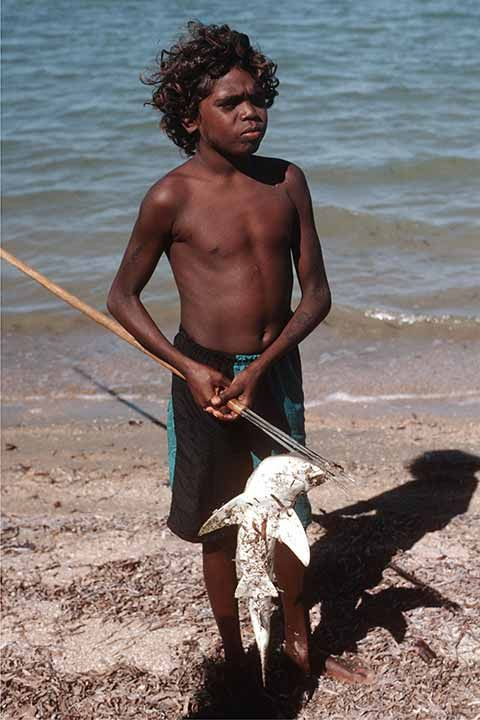 A boy with a small shark he speared off the beach in Amalarruj, on the coast north of Numbulwar, an Aboriginal community on the western Gulf of Carpentaria.