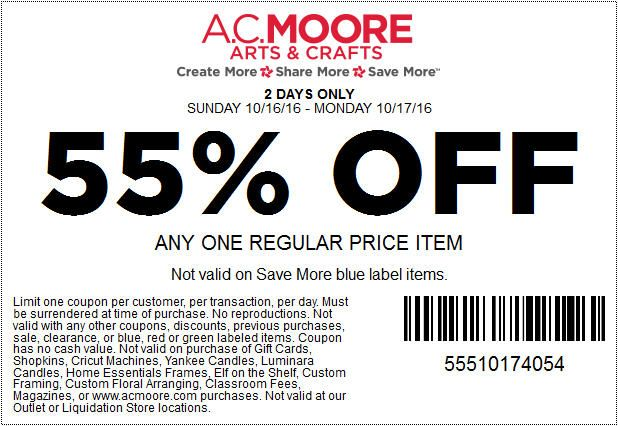 In-Store: 55% #Off Any one regular price item.  Store : #ACMoore Scope : Entire Store Coupon Code : 5551 0174 054 Ends On : 10/17/16  Get more deals : http://www.geoqpons.com/AC-Moore-printable-coupons Get our Android mobile App: https://play.google.com/store/apps/details?id=com.mm.views Get our iOS mobile App: https://itunes.apple.com/us/app/geoqpons-local-coupons-discounts/id397729759?mt=8
