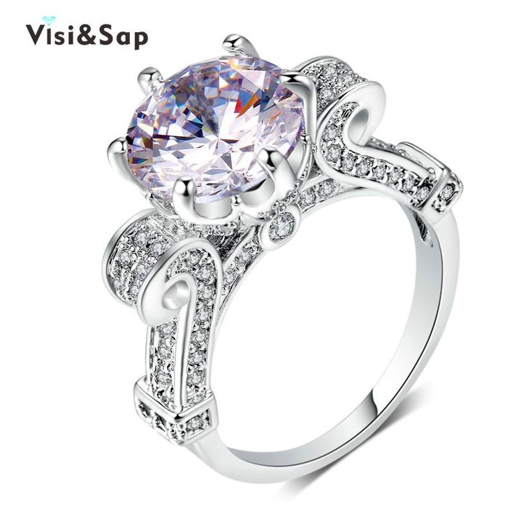 Orsa Jewels 6ct. Square Crystal Ring White Gold Plated With Princess Cut Large CZ Engagement Ring For Women aSgzRo
