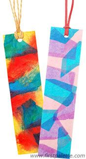 """Stained glass"" and tie-dyed bookmarks. Pretty!"