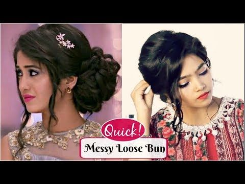 HAIRSTYLE with GOWN/SAREE | MESSY LOOSE UPDO Hairstyle ...
