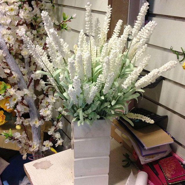 12 capi artificiale lavanda fiori foglie bouquet di nozze a casa giardino diy decor colore: viola scuro