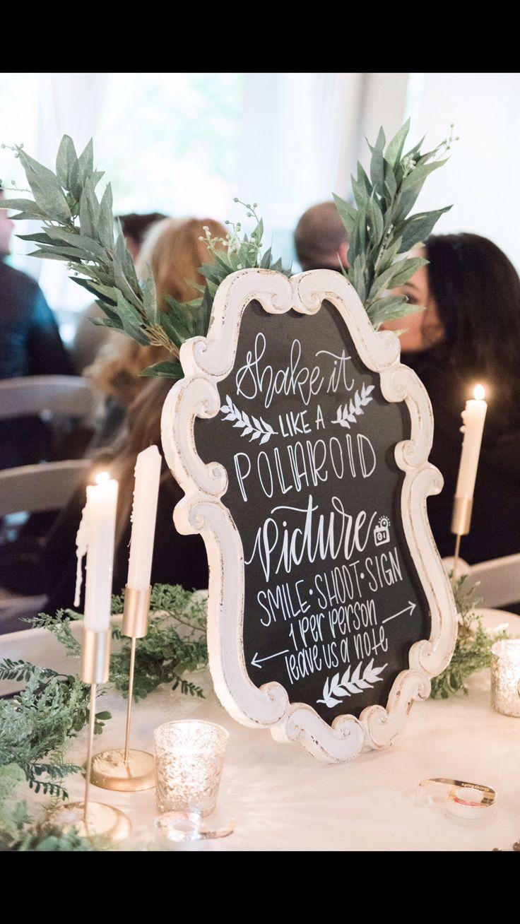 Chalk Polaroid Picture Wedding Sign | Shake it like a Polaroid picture