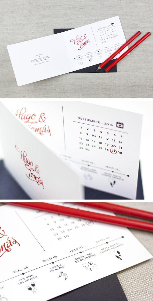 Invitaciones de boda 2014: Invitación con calendario