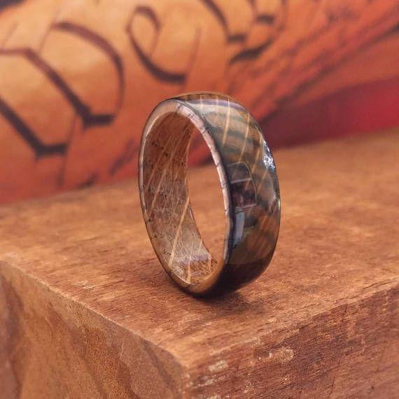 Whiskey Barrel Wood Ring - Whiskey Barrel Ring Wooden Ring Men Wedding Band Women Engagement Ring Wood Anniversary Reclaimed Wood