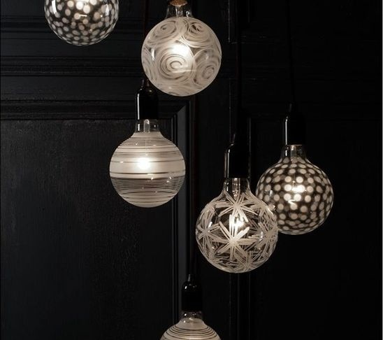 Orrefors Light Shadows Decorative Lightbulb   Decorative White Light Bulbs  Against A Black Wall Is Such A Great Idea. I Love The Designs On These  Bulbs; ...