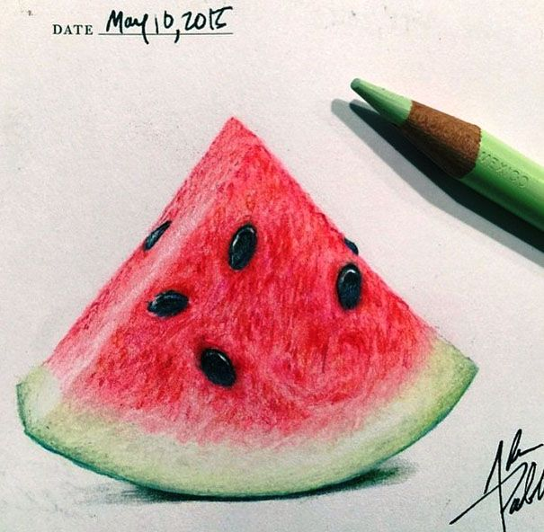 water melon color pencil drawing by adampadilla http://webneel.com/25-beautiful-color-pencil-drawings-valentina-zou-and-drawing-tips-beginners | Design Inspiration http://webneel.com | Follow us www.pinterest.com/webneel