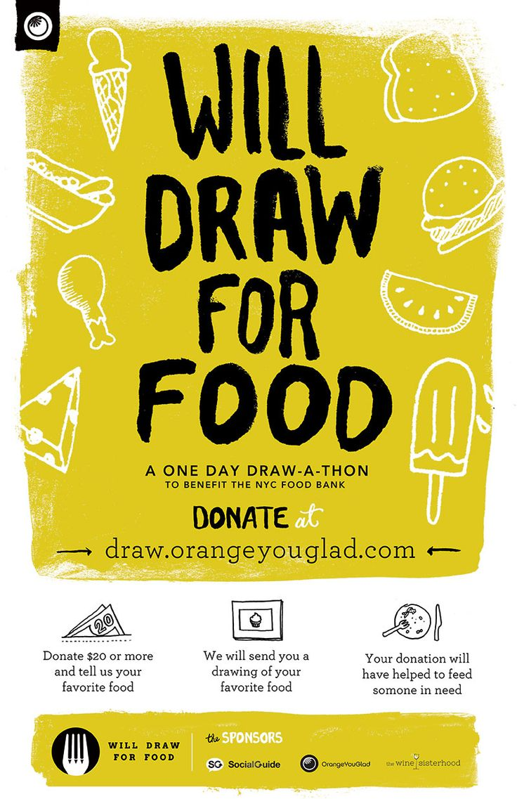 A Draw-a-thon. Donate to @FoodBank4NYC Get Art  http://draw.orangeyouglad.com #poster #handdrawn #fundraiser