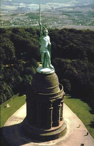 The German warrior hero Arminius. The statue of him at the Teutoburg Forest celebrating his victory over the Romans.