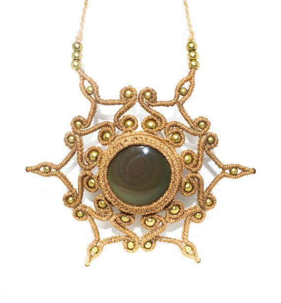 Necklace Macrame Obsidian star Rainbow and bronze, semi-precious stone, female, Macrame Necklace, jewelry Macrame, Macrame.