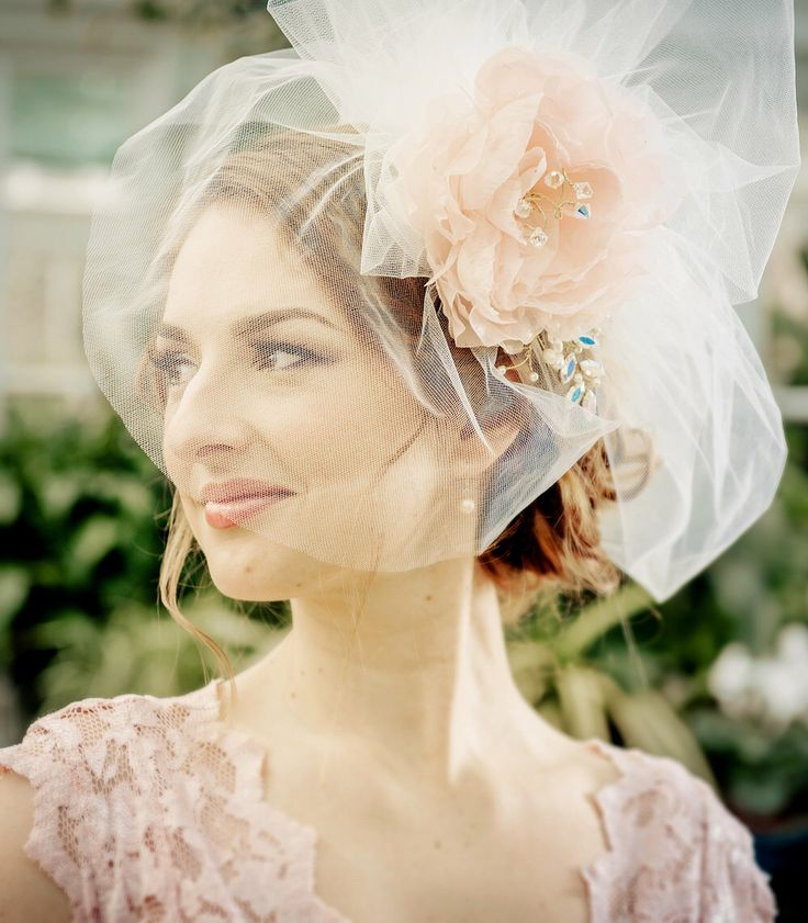 WEDDING VEIL bridal short bubble veil LUCIA with detachable handmade silk flower, Swarovski crystals rhinestones pearls made to order by HAIRBOWSWONDERWORLD on Etsy https://www.etsy.com/listing/183765758/wedding-veil-bridal-short-bubble-veil