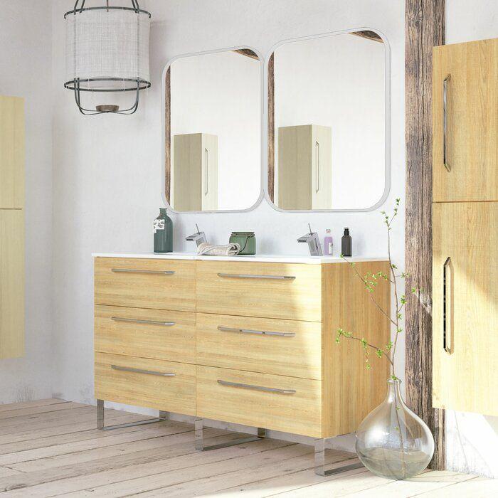 Shakia 48 Double Bathroom Vanity Set With Mirror In 2020 Vanity Set With Mirror Bathroom Vanity Cabinets Vanity Set