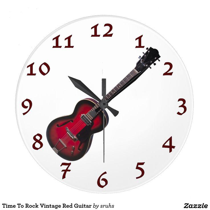 Time To Rock Vintage Red Guitar Wallclocks