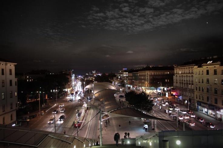 Vienna's busy street at night