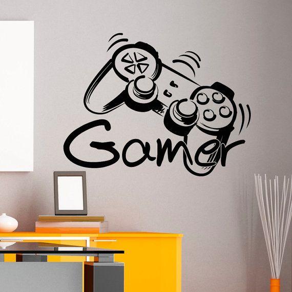 Controller di gioco del giocatore Wall Decal gioco zona muro decalcomanie vinile adesivi Joystick giocando Playstation gioco ragazzo Nursery per bambini sala giochi Decor Q080
