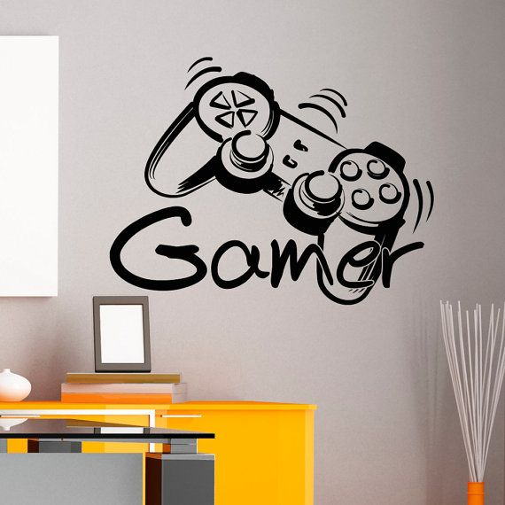 game controller gamer wall decal game zone wall decals vinyl stickers joystick playing. Black Bedroom Furniture Sets. Home Design Ideas